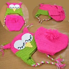 Newborn Baby Girl Owl Clothes Outfit Costume Prop Knit Crochet for Taking Photos