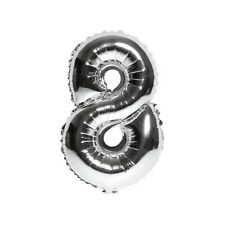 """40"""" Metallic Silver Glossy Eight Year Old Birthday Party Number 8 Float Balloon"""