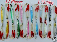 12 Knife jigs 1.75oz / 50g Vertical Butterfly Fishing Lures 6 Colors x 2