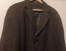 Vintage Burberrys Burberry London Brown Cusha Tweed Wool Mens Long Coat 37 R