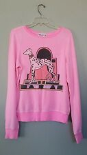 WILDFOX Couture Party Girl Pink Art Deco Dalmation Puppy BBJ Sweater sz XS Rare