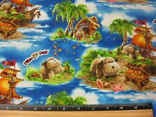 Pillow Pets Puppy Pirates Dogs Fabric  1 Porta Crib Sheet or Pack and Play