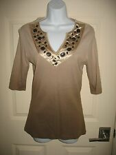 David Cline Shirt L Large Beige Ombre Stones V-Neck 3/4 Sleeve Womens