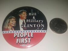 Vintage 1990s Bill & Hillary Clinton People First Presidential Pin Pinback Badge