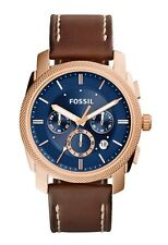 Fossil Watch * FS5073 Machine Knurled Chrono Blue, Rose Gold & Brown Leather