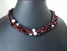 3 strand 8mm genuined Natural freshwater pearl garnet chip twist necklace
