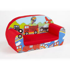 Cars Transport Kids Childrens Comfy Double Foam Sofa Toddlers Seat Chair Boys
