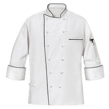 MENS MASTER CHEF COAT with black piping size S,XL,3XL,4XL