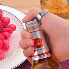 2 PCS RING Beer Bottle Opener Silver Stainless Steel Metal Finger Thumb keyring