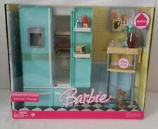Mattel 2006 HOME Barbie Kitchen Playset w/ Refrigerator, Cart, Food Acc, Dog NIB
