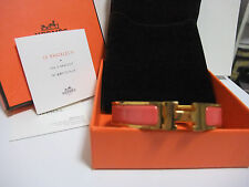 Authentic Hermes Clic Clac H Bangle Bracelet Rose Pink Enamel Gold tone with Box