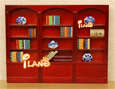 1:12 Dollhouse Miniature Triple Bookcases red Puppenhaus