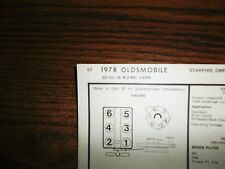1978 Oldsmobile Olds SIX Series Models 231 CI V6 2BBL Tune Up Chart