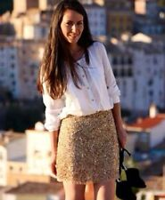 ZARA Gold sequin SKIRT Embellished EMBROIDERED Beaded Extra Small XS