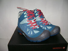 NIB MERRELL CAPRA GIRLS HIKING TRAIL BOOTS SHOES Size 3 M TURQUOISE WATERPROOF
