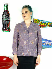 WOMENS VINTAGE 90'S LILAC SHEER CRAZY PATTERN OVERSIZE BLOUSE GRUNGE SHIRT 8 10