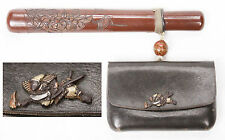 Antique Japanese Pipe Case Leather Pouch Sagemono Samurai Tabako-ire Kiseru Old