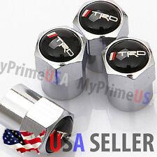 Toyota TRD Black Logo Valve Stem Caps Covers Chromed Round Wheel Tire Emblem USA