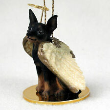 Mini Pinscher Dog Figurine Angel Statue Black/Tan