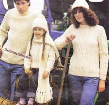 FAMILY ARAN / sweater,hat & scarf - 12ply - COPY knitting pattern