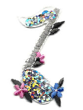 SINGLE MUSIC NOTE-SILVER SEQUINS w/FLOWERS/Iron On Applique - Music, Rock N'Roll