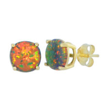 14Kt Yellow Gold Black Opal 4mm Round Stud Earrings