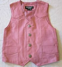GIRLS TODDLER KIDS SOFT PINK BIKER MOTORCYCLE WESTERN LEATHER VEST SMALL