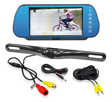 NEW Pyle PLCM7800 7'' TFT/LCD Mirror Monitor W/ License Plate Backup Camera Kit