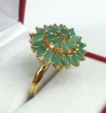 14k Solid Yellow Gold Round Cluster Ring, Natural  Emerald 2.10TCW,Sz 8.25
