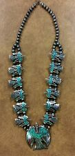 {BJSTAMPS} Old pawn Turquoise Coral Inlay Silver Peyote Bird Squash Blossom