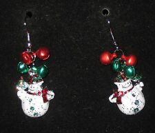 SNOWMAN Earrings Mini Bells Pierced New Glitter Accents Dangle Fish Hook Style