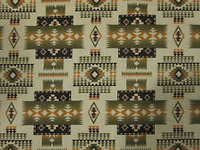 Navajo Indian Sage Green Tan Brown Overall Print Cotton Fabric FQ