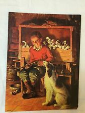 """Vintage Embossed Picture - Boy holding rifle with his dogs 7 1/2 x 10"""""""