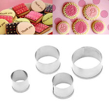4Pcs Stainless Steel Cookie Cake Cutter Mold Decorating Tool Set Round Circle
