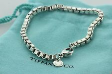 Tiffany & Co. 4mm Sterling Silver 925 Venetian Box Link Chain Bracelet - 7.25""