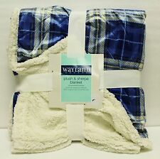 "WAYLAND SQUARE PLUSH & SHERPA BLANKET DOUBLE SIDED 50""X60"" - BLUE CHECKER"