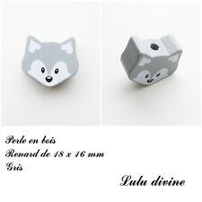 Perle en bois de 18 x 16 mm, Perle plate petite Tête de renard : Gris