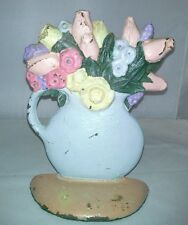 Cast Iron Hand Painted Flower Vase Pitcher Door Stop Tulips Roses Embossed Used