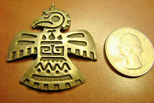 FRED HARVEY ERA SILVER OVERLAY THUNDERBIRD PIN SIGNED HOPI GUILD EXCEPTIONAL