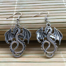 Retro silver Dragon earrings,fire Dragon necklace ,vintage Dragon earrings