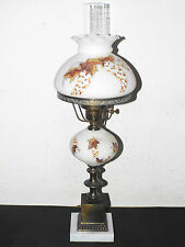 """GONE WITH THE WIND VINTAGE 24""""H HIGH-END HAND PAINTED MILK-GLASS HURRICANE LAMP"""