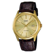 New Casio MTP-1183Q-9A Gold Analog Brown Genuine Leather Band Watch