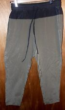 LOU & GREY Women's S Silkblock Joggers Ankle Pants Pockets 100% Silk Olive Gray
