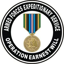 "Operation Earnest Will Armed Forces Expeditionary Service Veteran 5.5"" Sticker"