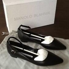 """NIB MANOLO BLAHNIK sz.35 BLACK schwarz nero Nappa sling ballerinas """"Rima"""" NP645€"""