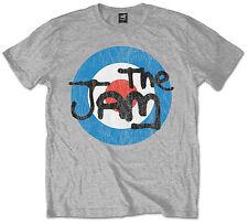 The Jam Official Mens Music T-Shirt Grey Vintage Bullseye Or Black Spray Logo