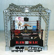 Lot WWE Raw Is War Wrestling Monster Ring Steel Cage + Figures & Accessories