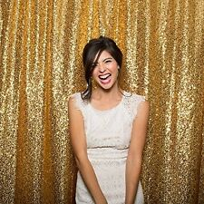 8ft*8ft Gold Shimmer Sequin Fabric Photography Backdrop for Wedding/ Party