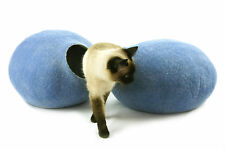 Cat cave bed,house from 100% wool for pet. Kivikis -Color Sky Blue  Size L