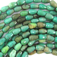 "10mm faceted green chrysoprase teardrop beads 15.5"" strand"
